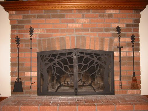 Custom Made Firescreen With Tree Motif