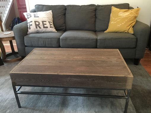 Custom Made Metal And Wood Coffee Table