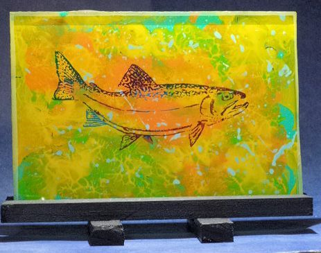 Custom Made Trout Or Trophy Caught Fish  Hand Etched And Painted Glass.