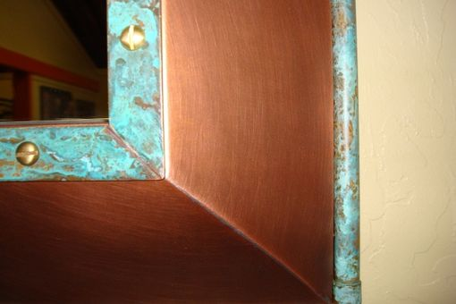 Custom Made Copper Mirror Shelf Frame With Mirror