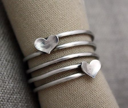 Custom Made Sterling Silver Fluttering Heart Ring