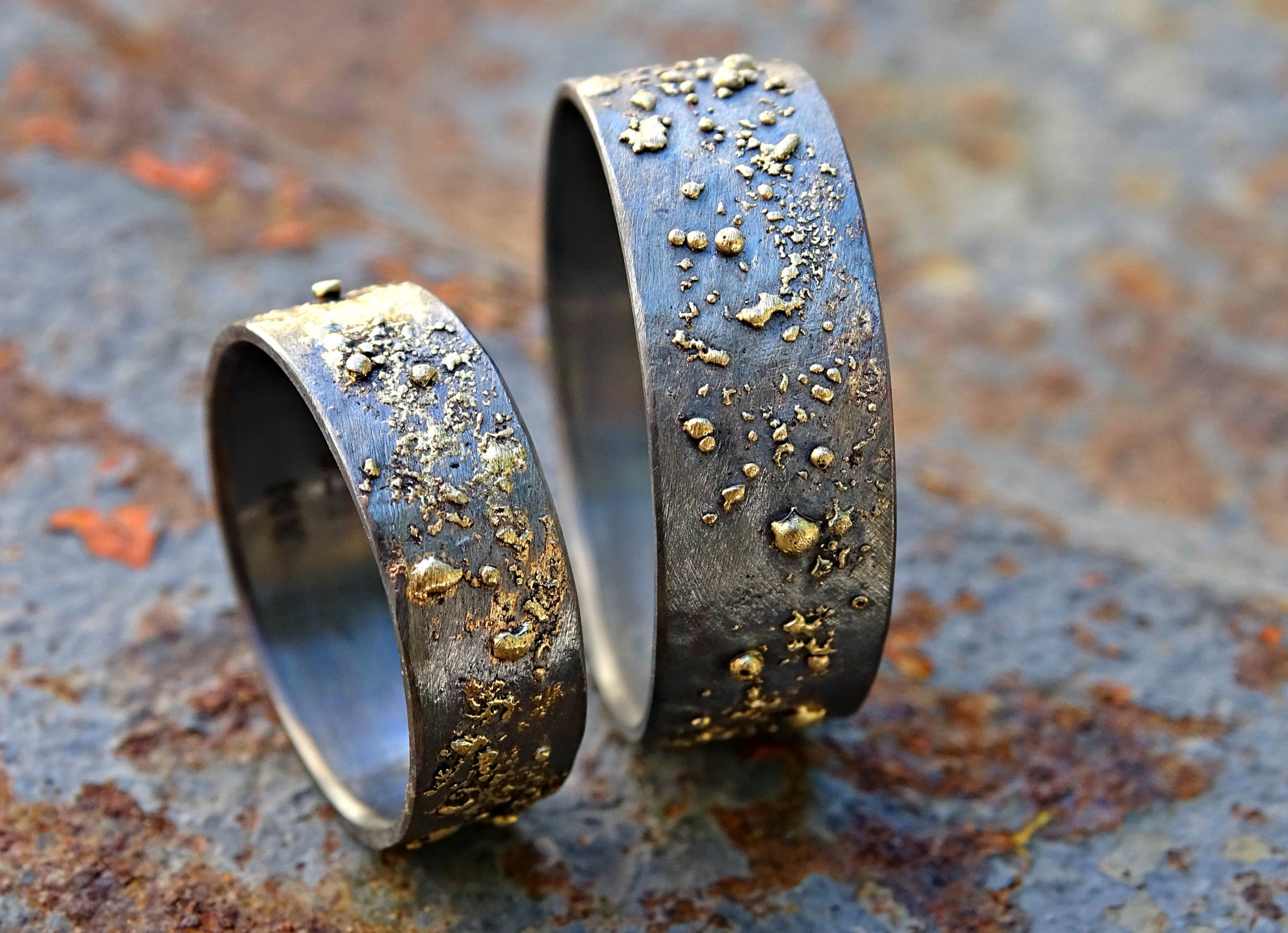 Custom Made Gold And Silver Wedding Bands Unique Rings Matching Set His Hers