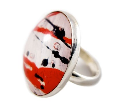 Custom Made Red White Black Steampunk Ring - Large Recycled Bold Ring - Silver Resin Ring