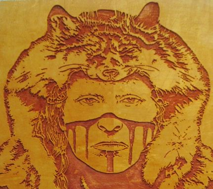 Custom Made Brave Warrior - Native American Indian Portrait Handmade Wood Carving Wall Art