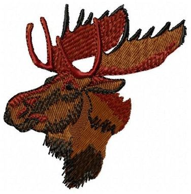 Custom Made Moose Head Embroidery Design