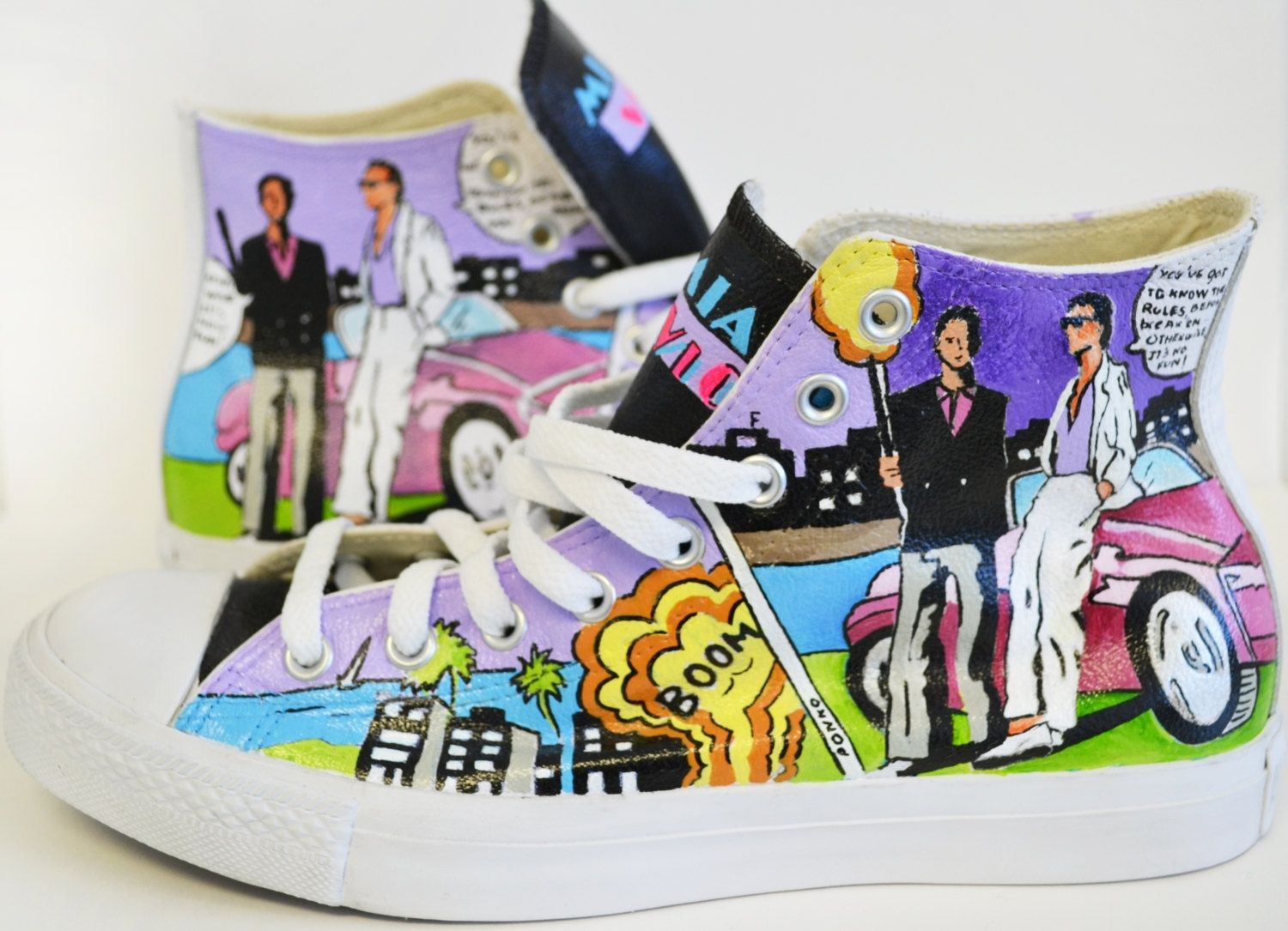 63a3d33c903d29 Miami Vice (Hand Painted)- Leather Converse- All Star Hand Painted Converse