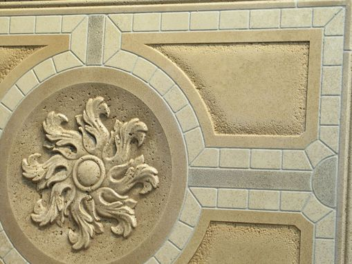 Custom Made Mosaic Travertine With Classic Relief Carving