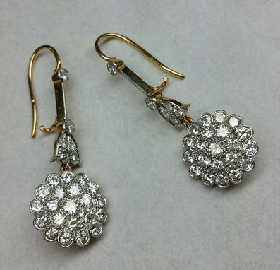 Custom Made Hand Made 18 Kt. And Platinum 3.75 Ct.Tw. Exceptional Quality Diamond Dangle Earring