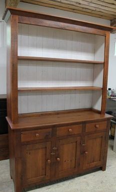 Custom Made Nantucket Style  White China Cabinet Hutch From Old Barn Wood