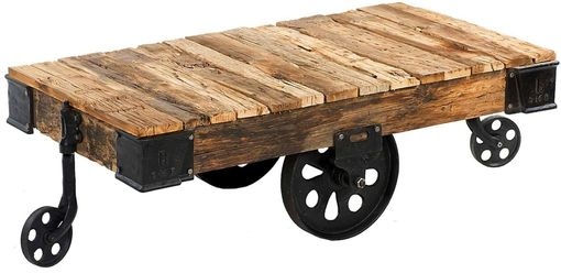 Custom Made Reproduction Industrial Factory Cart Coffee Table