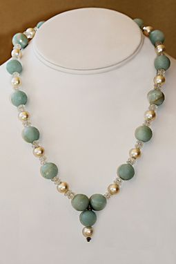 Custom Made Delicate Seafoam Blue Faceted Amazonite, Aquamarine And Pearl Necklace