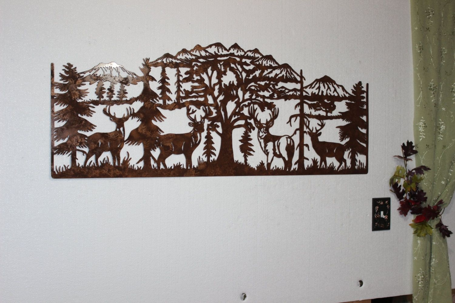 custom made deer and mountain scene with  majestic bucks large metal wall art country rustic: tree scene metal wall art