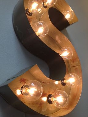 "Custom Made Carnival Letters Light Fixture Marquee Light Fixture Metal 24"" Tall Letter For One Letter"