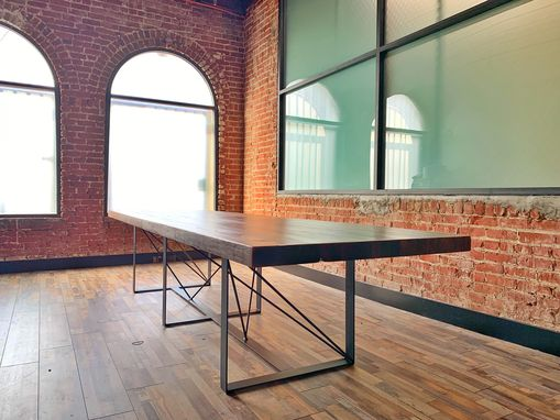 Custom Made Reclaimed Wood Butcher Block + Steel Conference Table