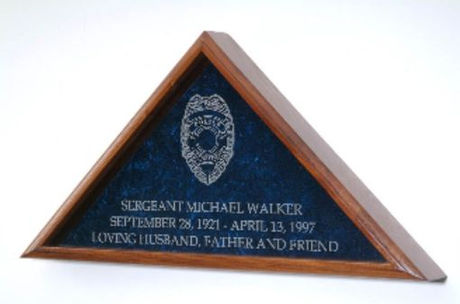 Custom Made Large Flag Display Case With Engraved Law Enforcement Emblem