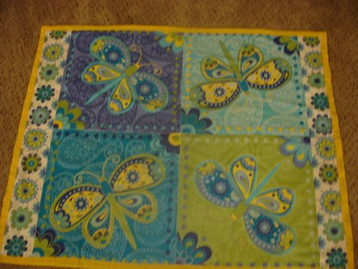 Custom Made Panel Lap Quilts - Neon Butterfly