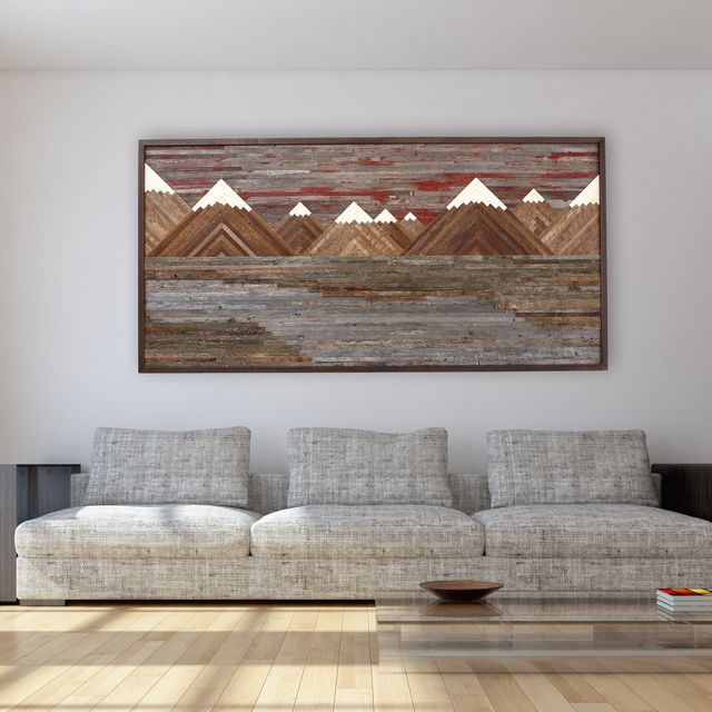 Personalized Wood Wall Art custom wood wall art of a fiery sunset mountain landscape