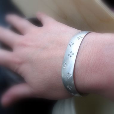 Custom Made New Clover Motif Wide Sterling Silver Cuff With Czs