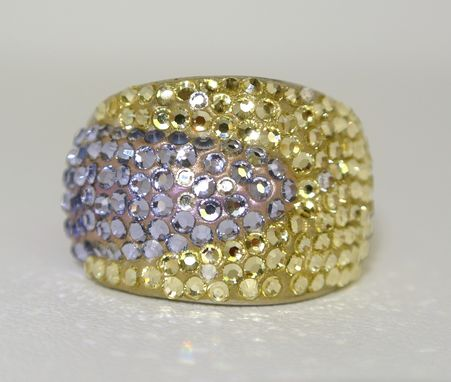 Custom Made Crystal Jonquil And Provence Lavender Dome Silver Ring - Made With Swarovski Elements