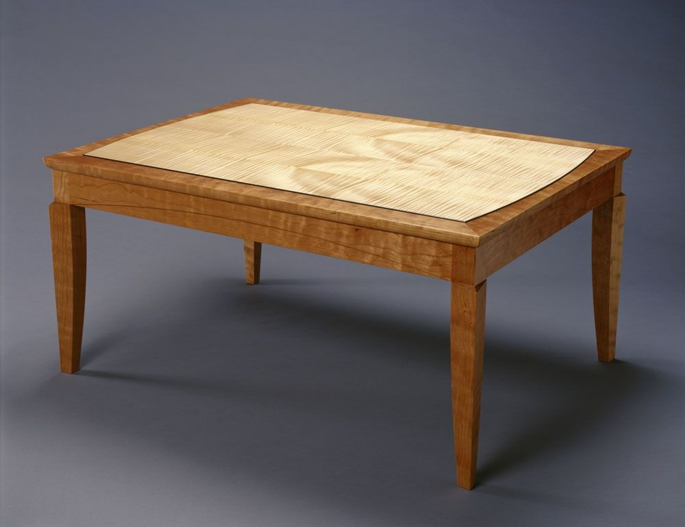 handmade cherry with curly maple coffee table by hugh montgomery woodworking. Black Bedroom Furniture Sets. Home Design Ideas