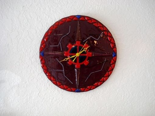Custom Made Fused Glass Nautical Clock