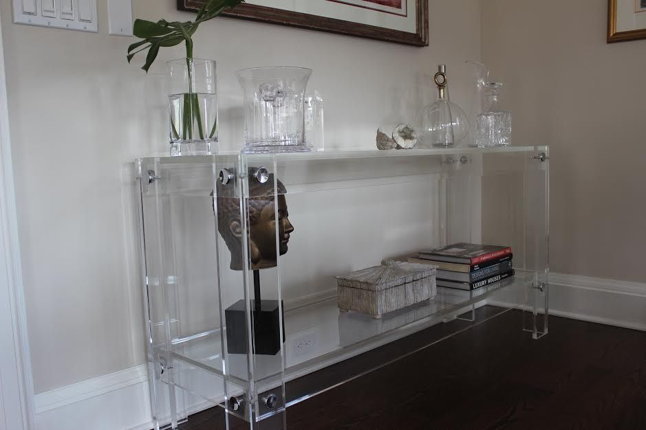 Hand Made Lucite Acrylic Console Table With Shelf