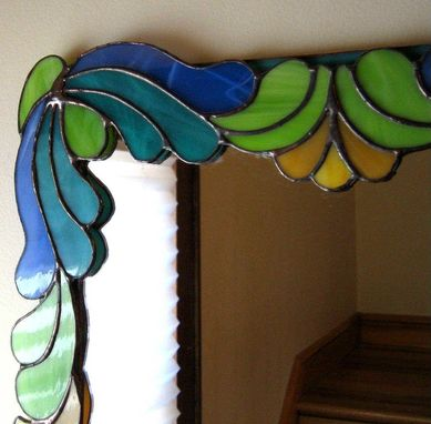 Custom Made Art Deco Stained Glass Mirror