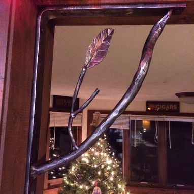 Custom Made Hand Forged, Tree Branch Shelf Or Mantel Bracket.
