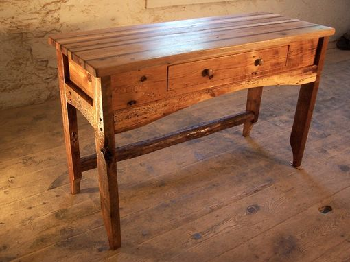 Custom Made Butcher Block Kitchen Island From Reclaimed Hardwood And Rustic Pine Base