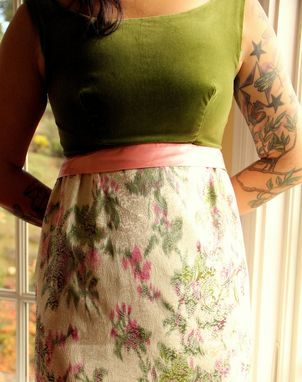 Custom Made Vintage 60s A Line Wiggle Pencil Dress Empire Waist In Olive Green Velvet And Silk Skirt Xs S