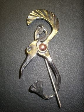 Custom Made Forged Crane Brooch In Stainless Steel And Copper