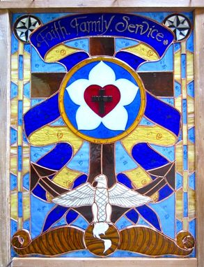 Custom Made Stained Glass And Fused Glass Panel- Navy Chaplain Retirement Celebration