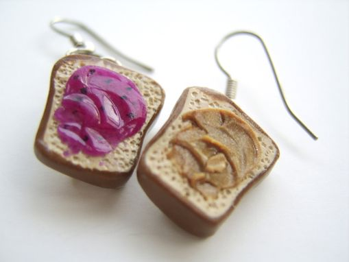 Custom Made Mismatched Earrings - Peanut Butter And Jelly - 100% Hand-Crafted In Polymer Clay