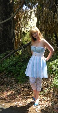 Custom Made Strapless Dress, Vintage Pin Up Inspired, Made To Fit You, Blue And White Alice Sundress