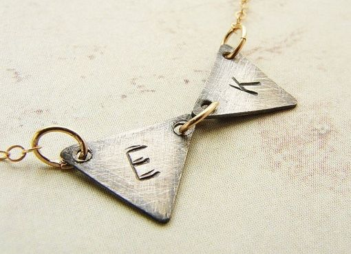 Custom Made Custom Two-Initial Triangle Necklace