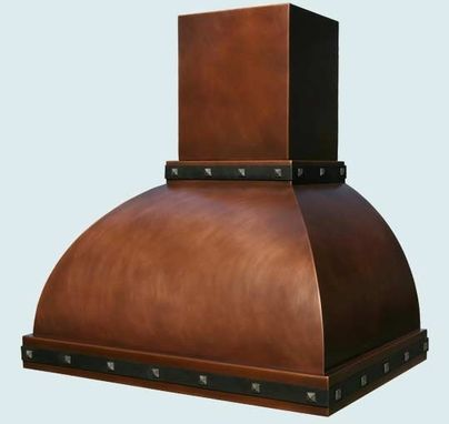 Custom Made Copper Range Hood With Stack & Straps