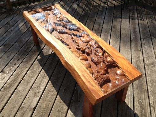 Custom Made Custom Coffee Table With Blossom Tree Scene, Hand Carved By Scott, Lazy River Studio