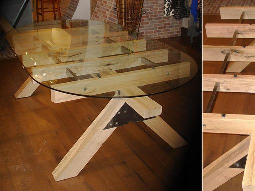 Custom Made Post And Beam Glass Topped Table