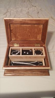 Custom Made Wooden Jewelry Box With Lined Trays