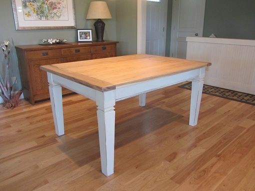 Custom Made Hickory Topped Farmhouse Dining Table