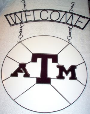 Custom Made Wrought Iron Welcome Sign With Texas A&M Panel, Made To Order
