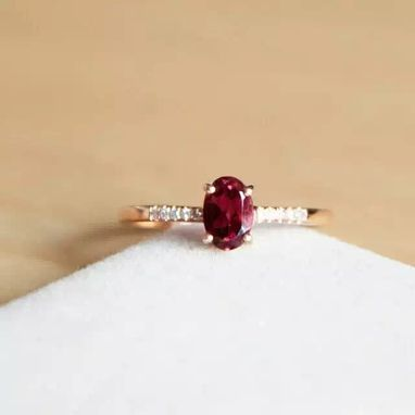 Custom Made 0.55 Carat Rhodolite Garnet Ring In 14k Rose Garnet