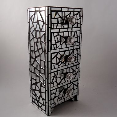 Custom Made Mirror Mosaic Jewelry Box With 5 Drawers