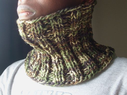 Custom Made Ribbed Knit Cowl For Men - In Camouflage Green - Warm And Toasty