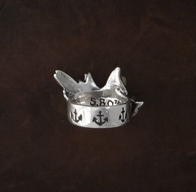 Custom Made Sparrow Ring With Anchors Carved Band In Sterling Silver - Women Ring - Gift For Her