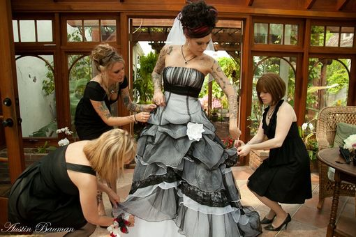 Custom Made Sensational Gothic Wedding Dress In Black And White