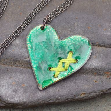 Custom Made Mended Broken Enamel Heart Pendant Necklace Copper Enameled Jewelry Sewn Green