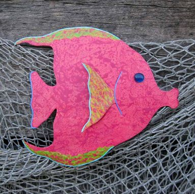 Custom Made Handmade Upcycled Metal Red Tropical Fish Wall Art Sculpture
