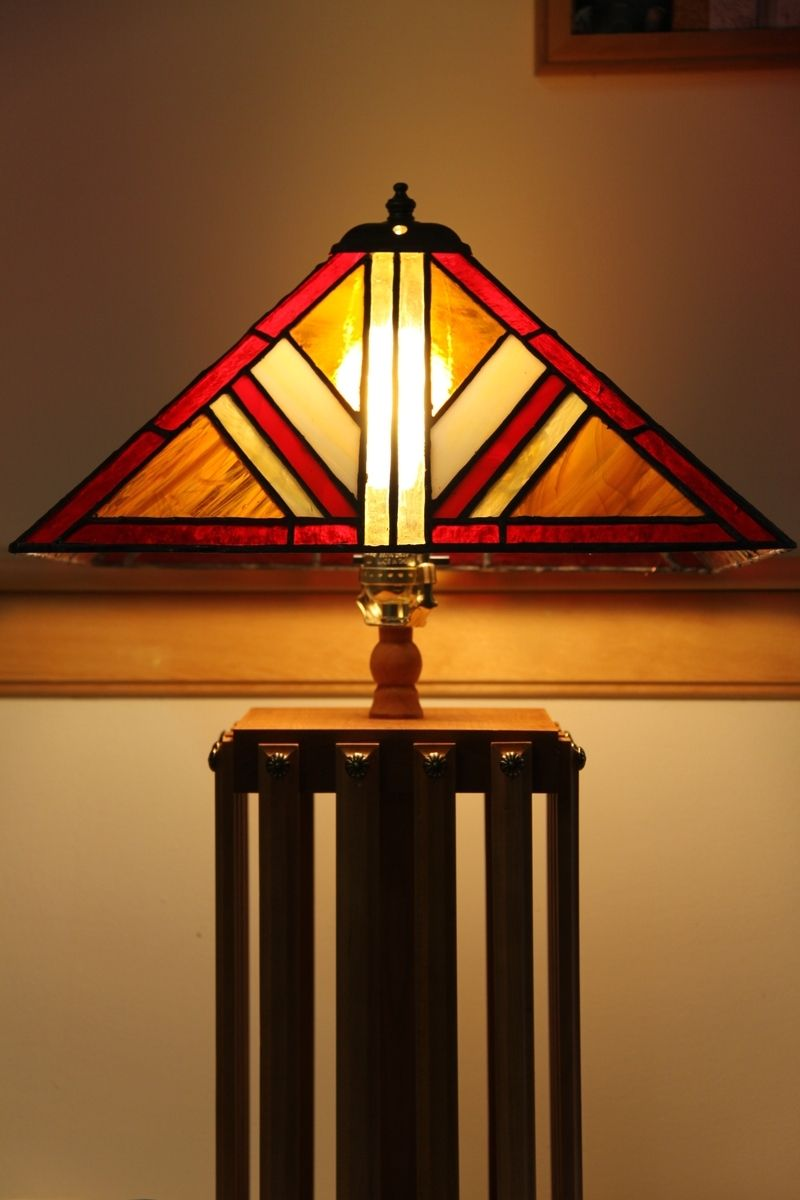 hand made mission style lamp with stained glass lamp shade by tobias wood and glass. Black Bedroom Furniture Sets. Home Design Ideas
