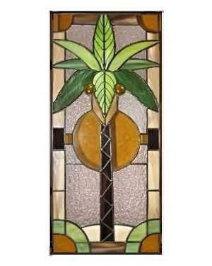 Stained Gl Panel Tropical Palm Tree